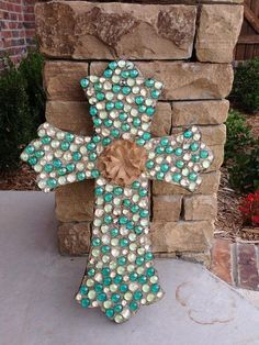 This could be easily made! Wall Cross Decorative Wall Cross Embellished by InitialCrossings, Mosaic Crosses, Wooden Crosses, Crosses Decor, Wall Crosses, Decorative Crosses, Cute Crafts, Crafts To Make, Arts And Crafts, Diy Crafts
