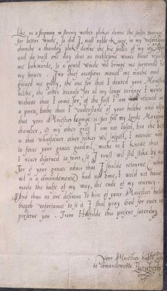 Letter from Elizabeth to Edward VI-EXCERPT: Probably written in 1553, when the future Queen of England was 20 years old, Elizabeth's letter reveals the personal costs behind the power struggles of the troubled Tudor dynasty. She tells her young half-brother, Edward VI, how she had tried to visit him during what would prove his final illness, but had been turned away.