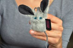 cute mouse kaychains grey folk art doll plushie cat