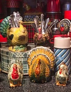 My vintage Napcoware turkey collection mixes in with my vintage thermoses and ca. My vintage Napcoware turkey collection mixes in with my vintage thermoses and cake taker at Thanksgiving Vintage Thanksgiving, Thanksgiving Tablescapes, Thanksgiving Turkey, Thanksgiving Decorations, Happy Thanksgiving, Fall Decorations, Thanksgiving Recipes, Peru, Happy Fall Y'all