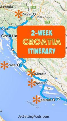 2-week Croatia Itinerary Map JetSetting Fools