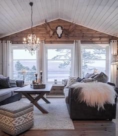 24 Great Living Room Decor Ideas With Wood Walls. 09 A Cozy Cabin Style Living Room With A Wooden Wall And Several Windows That Bring Views In. The best collection of Great Living Room Decor Ideas With Wood Walls Rooms Home Decor, Home Decor Trends, Living Room Decor, Living Rooms, Decor Ideas, Living Room Cabin, Windows In Living Room, Wall Of Windows, Bay Windows