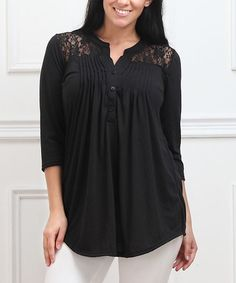 Look what I found on #zulily! Black Lace-Yoke Notch Neck Tunic - Plus #zulilyfinds