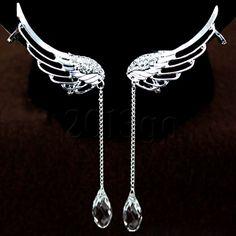 1Pair Angel Wing Shape Rhinestone Ear Cuff U Clip Silver Plated Earrings Stud YG