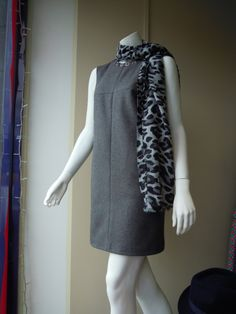 Just loving our gorgeous new Grey Flannel Mina Shift with contrast neck and front dart detail......£110