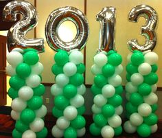 2013 Graduation Swirl Columns With Megaloon Balloon Numbers Balloons Number