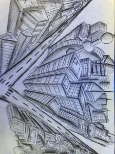 Birds Eye View From the City!! Drawing by Me!! - Dana
