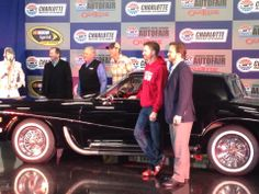 Rick Hendrick and Dale Earnhardt Jr at the unveiling of Elvis Presley's 1973 Stutz Blackhawk III here at Charlotte Motor Speedway