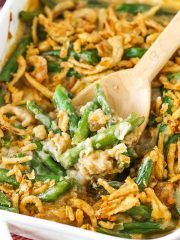 This Classic Green Bean Casserole is made with cream of mushroom soup, green beans, cheese, crispy fried onions and comes together in about 5 minutes! Such an easy classic that makes an appearance on our table at Thanksgiving and Christmas every year! Healthy Green Bean Casserole, Classic Green Bean Casserole, Healthy Casserole Recipes, Healthy Green Beans, Greenbean Casserole Recipe, Potato Casserole, Loaded Sweet Potato, Frozen Green Beans, Green Bean Recipes