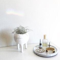 Rustic Tabletop Ceramic Planter with Legs by TylerKingstonWoodCo on Etsy https://www.etsy.com/listing/252842395/rustic-tabletop-ceramic-planter-with