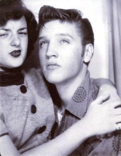 """It's from a photobooth visit by him and Jeanette..."" I looked closely and was genuinely moved to see the two lovebirds, age 19 and 15 captured on photo in a moment of privacy. Elvis, used to having his photo taken daily, looking confidant and cocky... While Jeanette looking like caught with her hand in the cooky jar due to the harsh cameraflash surprising her off guard. The photo was clearly cut from a strip containing more images of the two made that day.  Ger Rijff"
