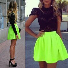Womens Fluorescent Green Pleated High Waist Skater Tutu Skirt Short Skirt