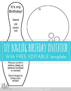 DIY Bowling birthdayt invitations | Birthday | Invitations | Party | Free Template | Printable