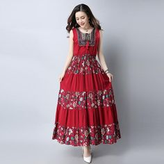 FuzWeb:8631# Summer New Plus Size Women Cotton Linen Sleeveless O-neck Embroidered Maxi Dress Vintage Dress Vestidos