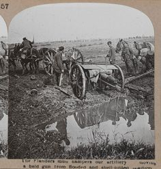 Battling to move an 18 pounder through the mud, Third Ypres