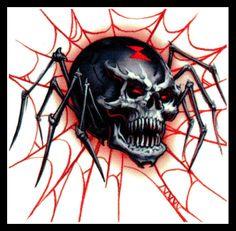 SKULL zwarte weduwe spin tijdelijke tatoeage ~ KERSTMIS partij gunst ~ kous stuffer picclick.com