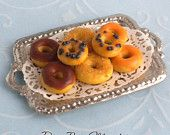 Halloween Glazed Donuts on a Tray - Handmade Dollhouse Miniature Food by IGMA Diane Paone