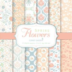 12 Spring flower Digital Papers Pack in pastel. by CLIPARTGARDEN