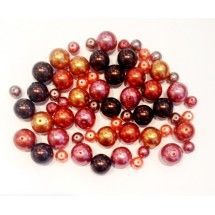 Round glass pearls mix ~ browns & reds