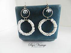 VINTAGE Earrings White Seed Bead Wire Hoops