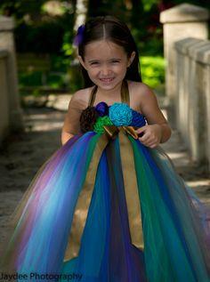 Peacock flower girl tutu dress Flower girl dress by Gurliglam, $60.00