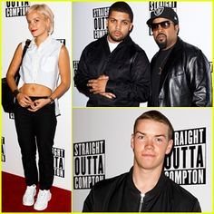 O'Shea Jackson Jr. keeps close to his father, rapper Ice Cube while hitting the red carpet at the special screening of their film Straight Outta Compton held at the Picturehouse Centralon on Thursday (August 20) in London, England. The 24-year-old actor, who plays young Ice Cube in the flick, was also joined at the event