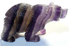 Hand Carved Fluorite Bear  Figurine by LeatherGemsJewelry on Etsy