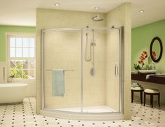 Curved sliding shower enclosure | Binswanger Glass Auto Glass, Shower Enclosure, Shower Doors, Alcove, Bathtub, Architecture, Home, Standing Bath, Arquitetura