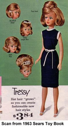 Vintage Tressy doll with growing hair.