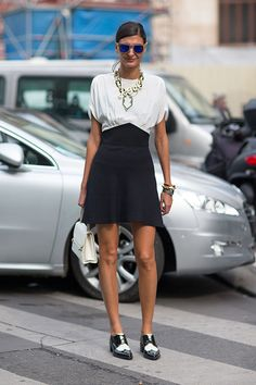 Giovanna Battaglia #streetstyle #Paris fashion week Yves Saint Laurent shoes