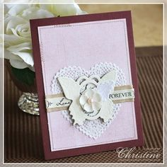 butterfly card with a heart doily