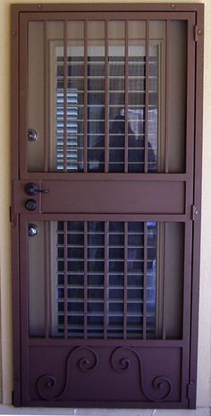 Security Screen Doors Archives - Whiting Iron and Great Gates in Phoenix AZ Grill Gate Design, Steel Gate Design, Steel Security Doors, Security Screen, Pooja Room Door Design, Wrought Iron Gates, Stainless Steel Doors, Iron Doors, Entrance Doors