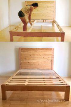 Diy Furniture Farmhouse How To Build – folding Wooden Bed Frame Diy, Diy Bed Frame Plans, Full Bed Frame, Bed Frame And Headboard, Wood Headboard, Bed Plans, Diy Queen Bed Frame, Fabric Headboards, King Frame