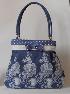 embriodered denim bag
