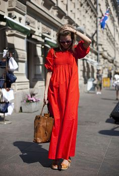 Cotton maxi dress in red. Image via Sycamore Street Press