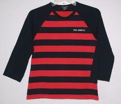 Ralph Lauren Polo Jeans Co Long Sleeve Shirt Medium Red Navy Blue Striped M #RalphLauren #KidStyle