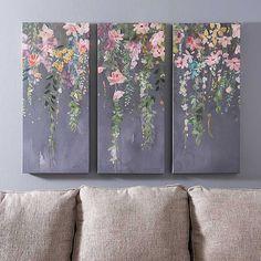 Floral Bloom Triptych Canvas Art Prints, Set of 3 | Kirklands Canvas Art Prints, Paintings On Canvas, Three Canvas Painting, Yellow Canvas Art, Floral Paintings, Knife Painting, Painting Inspiration, Wall Art Decor, Art Projects