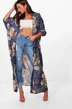 Kimono Outfit, Kimono Jacket, Kimono Fashion, Fashion Outfits, Womens Fashion, Cardigan Outfits, Kimono Cardigan, Kimono Floral, Chiffon Kimono