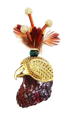 One Of A Kind Red Tail Hawk Brooch by Nicholas Varney
