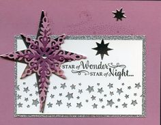 Stampin Up Star of Light Bundle, Sweet Sugar plum, Rich Razzelberry, Silver foil & Silver Glimmer, Start border punch.  Cased idea from Kelly Kent