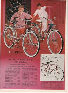 1966 Sears Christmas catalog page only Rail Banana Seat Bicycle Spyder Spaceline Bicycle News, Bicycle Brands, Old Bicycle, Vintage Toys 1960s, Vintage Bicycles, Vintage Ads, Vintage Tools, Retro Ads, Vintage Advertisements