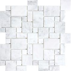 Bianco Carrara Mini Pattern Mosaic - Marble Polished