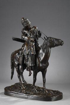 LANCERAY Eugène /1848-1886 «Les Adieux du Cosaque» connu aussi sous le titre «Le Baiser du Cosaque» dimensions : Haut. 42 cm / Long. terrasse 38 cm […] Russian Art, Dimensions, Lion Sculpture, Statue, Good Bye, Patio, Top, Merengue, Sculptures