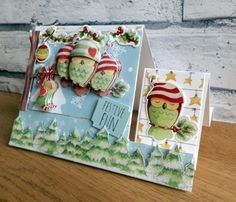 Helz Cuppleditch - Winter Woodland Owl Christmas stepper card by Maxine