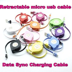 Multi-Color Retractable Micro USB Cable Charging Cable For HTC Xiaomi for Sumsang Galaxy S4 Mobile Phone Cables
