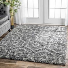 nuLOOM Soft and Plush Keyhole Trellis Shag Dark Grey Rug (4' x 6')