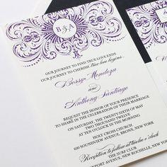 Elegant purple wedding invitation with thermography printing in black & purple