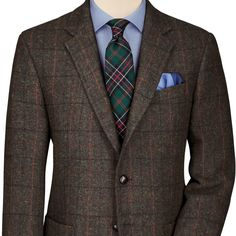 Harris Tweed jacket goes well with the tartan tie, blue shirt and silk pocket square - pure elegance! Mens Fashion Blazer, Sport Fashion, Men's Fashion, Harris Tweed, Sharp Dressed Man, Well Dressed Men, Mens Sport Coat, Sport Coats, Brown Suits