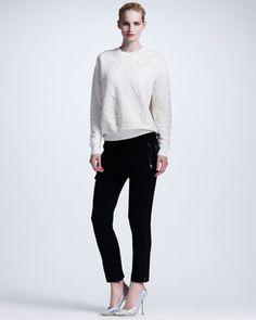 Damask-Embossed Sweatshirt & Cuffed Drawstring Pants by Stella McCartney at Neiman Marcus.