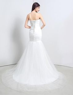Trumpet/Mermaid Strapless Sweep/Brush Train Wedding Dress (Tulle) – USD $ 79.99